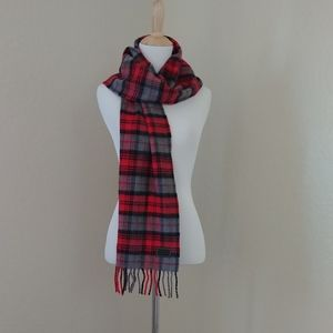 Coach Wool-Cashmere Red Plaid Scarf